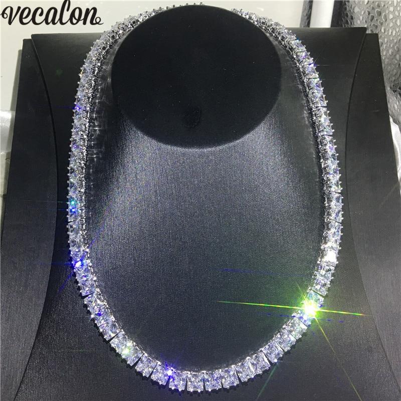 Vecalon Tennis collier or blanc rempli complet princesse coupe 7mm AAAA cz fête mariage colliers pour femmes hommes Hiphop bijoux
