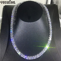 Vecalon Tennis Necklace White Gold Filled Full Princess cut 7mm AAAA cz Party Wedding necklaces for Women men Hiphop Jewelry