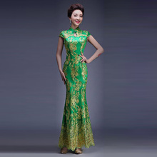 Gold Thread Embroidery Wedding Qipao Lace Long Green Cheongsam Dress Women Chinese Traditional Qi Pao Modern Dresses 4 Color