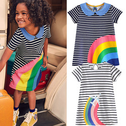 Toddler Baby Kid Girl Rainbow Embroidery wedding dress costume for kids frozen princess dresses Stripe Outfit
