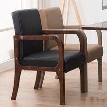 Luxe 100% bois moderne loisirs chaise avec fauteuil bois dinant la chaise nordique rétro canapé PU cuir canapé salon meubles