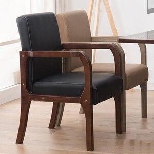 Image 1 - Luxe 100% hout moderne Vrijetijdsbesteding stoel met fauteuil hout eetkamerstoel Nordic retro sofa PU Lederen sofa Woonkamer Meubels