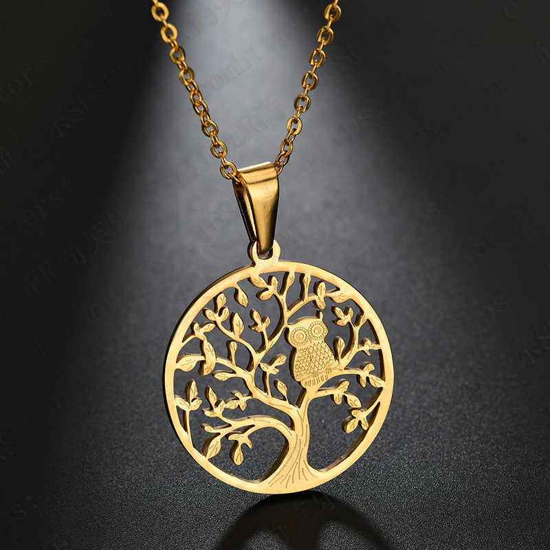 Stainless Steel Owl Necklace Tree Of Life Gold Silver Necklaces & Pendants Women Choker Bijoux Fashion Jewelry Mother Gift 2019