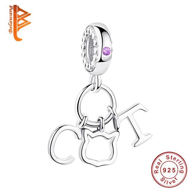 BELAWANG 100% Real 925 Silver Cat Pendant Beads fit  Charm Silver Original Women Bracelet DIY Jewelry Making