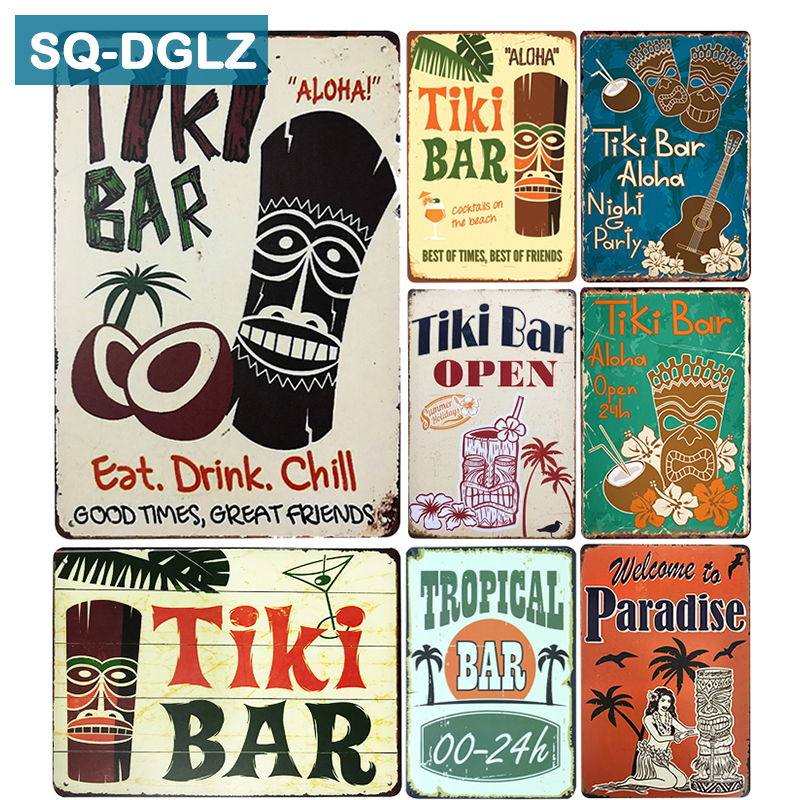 [SQ-DGLZ]Hot Tiki BAR Eat Drink Chill Metal Sign Vintage Metal Plates Cafe Pub Club Home Wall Decor Tin Signs Retro Plaque(China)