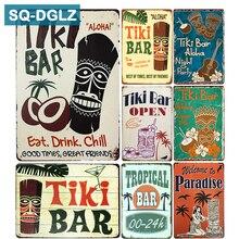 [SQ-DGLZ] Hot Tiki BAR Eat Drink Chill cartel de Metal vintage placas de Metal café Pub Club decoración de la pared del hogar carteles de estaño placa Retro