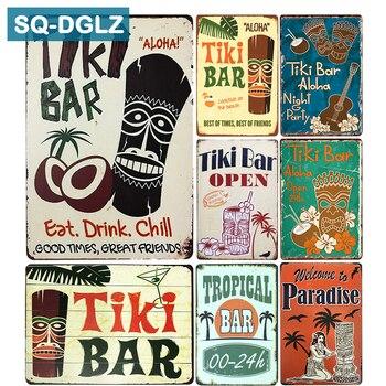 [SQ-DGLZ] Горячее предложение Tiki BAR Eat Drink Chill Metal Sign винтажные металлические тарелки для кафе, паба, клуба, домашнего декора, оловянные знаки, ретро табличка