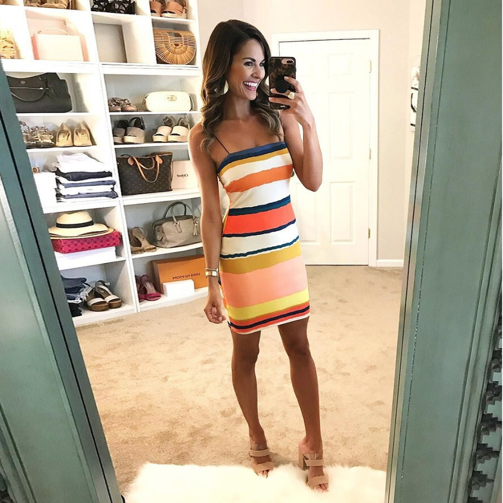 New Sleeveless Bodycon Rainbow Striped Dress Summer Vacation Dress Watercolor-Striped Spaghetti Strap Mini Dress