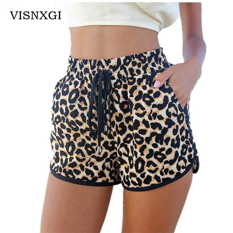 Fashion 2020 New High Quality Products Female Leopard Sexy High Waist Loose On Both Sides Of The Pocket Shorts Beach Thin Shorts