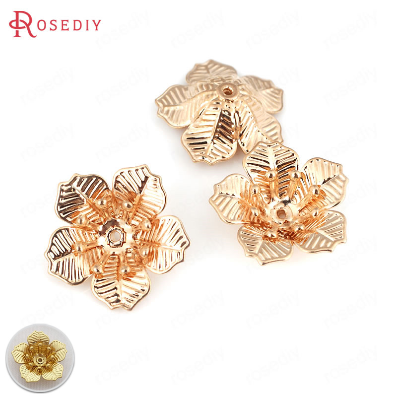 20PCS 17MM 24K Champagne Gold Color Plated Brass 3D Flowers Spacers Beads Caps High Quality Diy Jewelry Accessories Wholesale