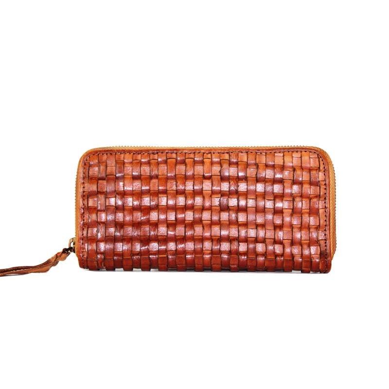 AETOO Nouvelle première couche cuir hommes et femmes portefeuille long à fermeture à glissière en cuir tissé à la main embrayage