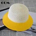 Panamá Beach Sun Paja Sombrero de los niños 2016 de La Moda Del Jazz Sombrero Sólido huecos de Verano Casquillo de La Muchacha Gorras sombreros de Ala Del Bebé Nuevo sombrero de Paja Sombrero de la Pesca