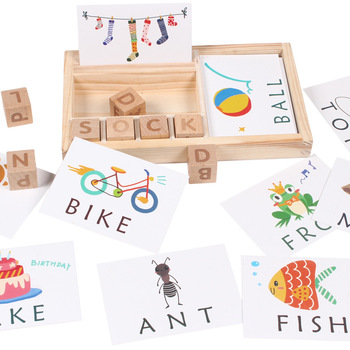 Children's wooden toys enlightenment early education learning card English spelling cognitive puzzle Montessori teaching aids montessori early education to eat apple hands on teaching aids children s educational toys baby threading puzzle wooden toys