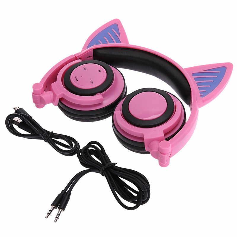 แฟนซีกระพริบ LED Fox Ear หูฟังเรืองแสง Music Video หูฟังสำหรับแล็ปท็อปแท็บเล็ตโทรศัพท์ไนท์คลับสาวชุดหูฟัง