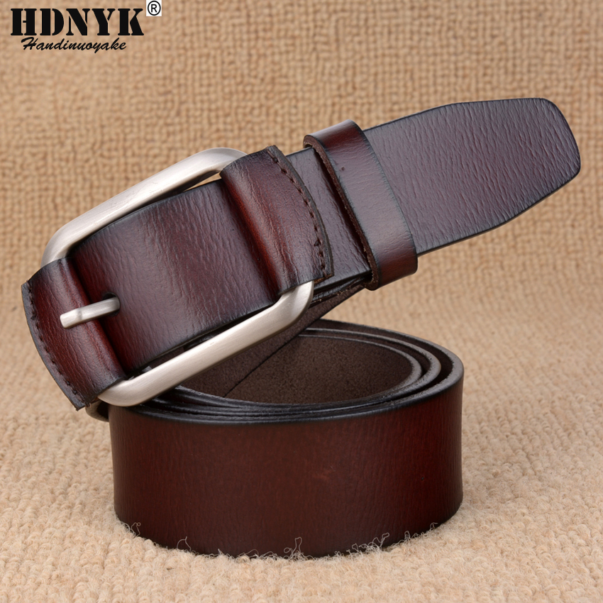Cowhide Leather Belts for Men Brand Strap Male Pin Buckle Fancy Vintage Jeans
