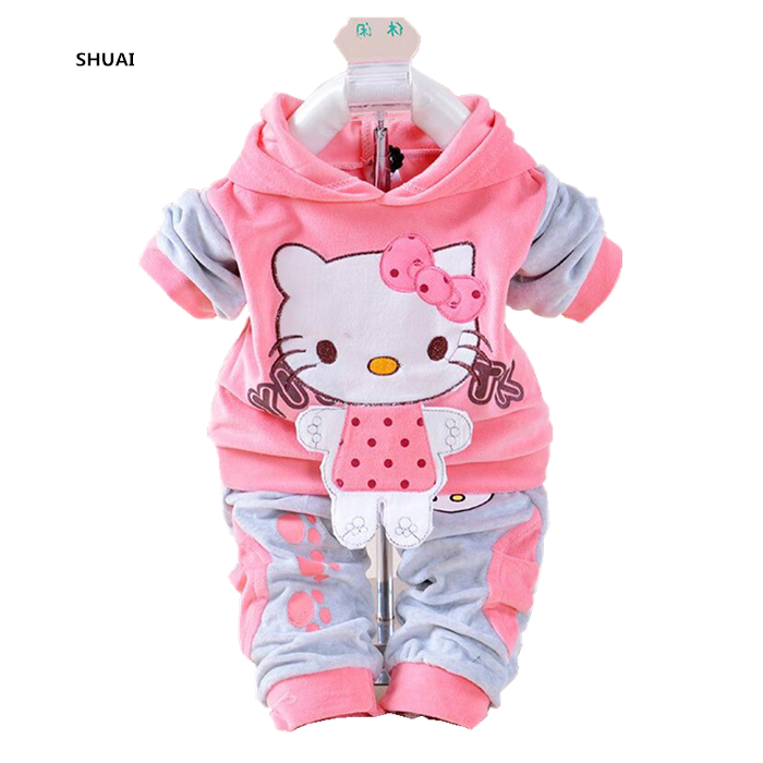 New Baby Girls Hello Kitty Clothing Sets Kids Autumn Character Cotton Long Sleeve Shirt + Pants 2 Piece Children Clothing Set girls clothing sets 2015 autumn child casual long sleeve cat kitty cartoon t shirt