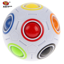 YJ Hot Spherical Magic Cube Toys Novelty Rainbow Ball Football Puzzle Cubes Learning Educational Toys For