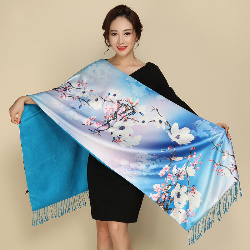 2019 NEW Women Winter Cashmere Scarf Floral Print Silk Scarves Thick Warm Pashmina Ladies Shawls And Wraps Foulard Femme