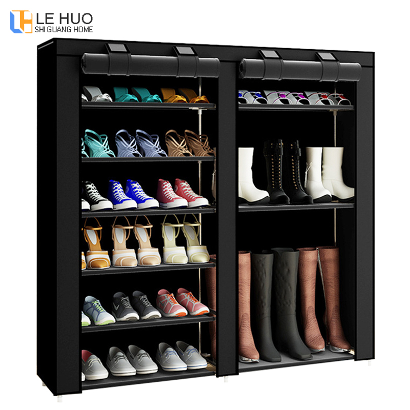 Double Row Shoe Cabinet Fabrics Large Shoe Rack Organizer Removable Shoe Storage For Storing Shoes Boots Furniture Cabinet
