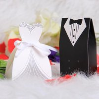 100pcs Tuxedo Dress Groom Bridal Candy Gift Boxes Wedding Party Favour