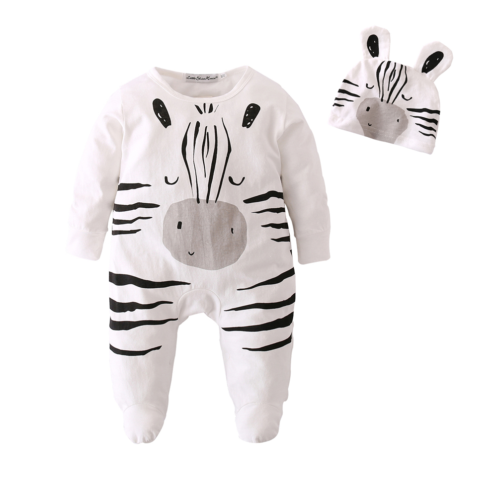 Baby Boys Girls Rompers Ropa Bebe Cotton Newborn Infant Cartoon Zebra Jumpsuit With Cap Toddler Baby Clothes