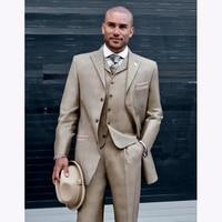 Handmade Khaki suit Wedding Suits for men Classic Best Mens Dinner Party suits 2017 Blazer Tuxedo With Pants (Jacket+Pants+Vest)