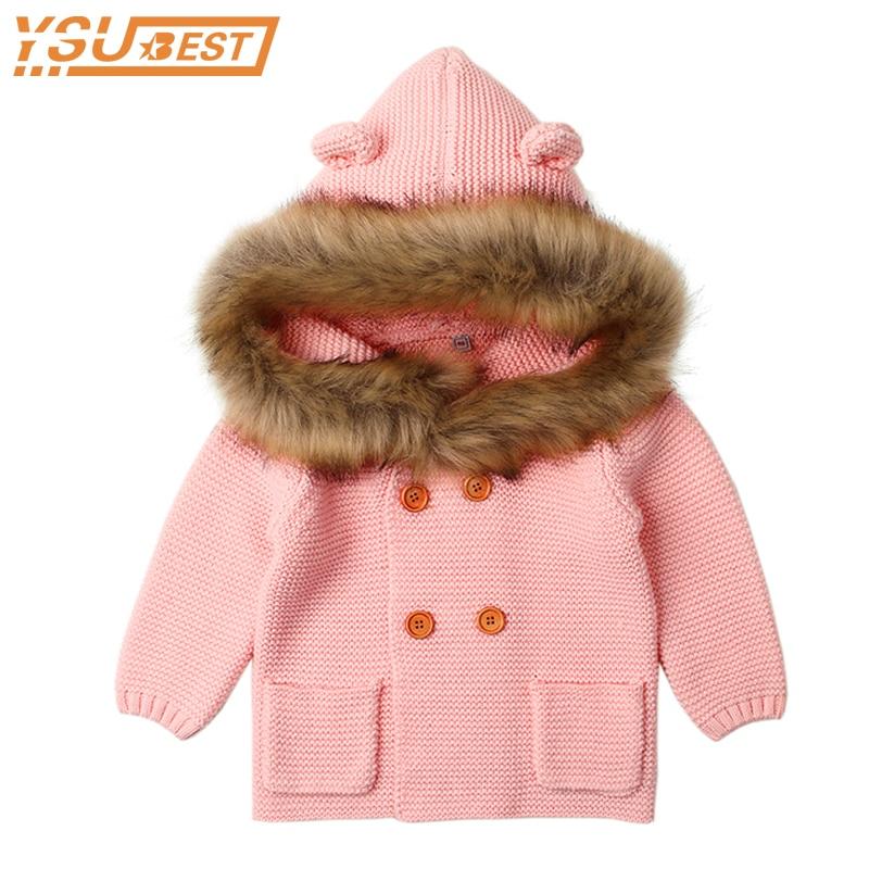Winter Warm Newborn Baby Sweater Fur Hood Detachable Infant Boys Girls Knitted Cardigan Fall Outwear Children Knitwear 0-24M недорого