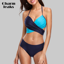 Charmleaks Women Bikini Set Halter Swimwear Solid Color Swimsuit Cross Bandage Sexy Bikini Bathing Suit Beachwear sexy style solid color lace splicing bikini set for women