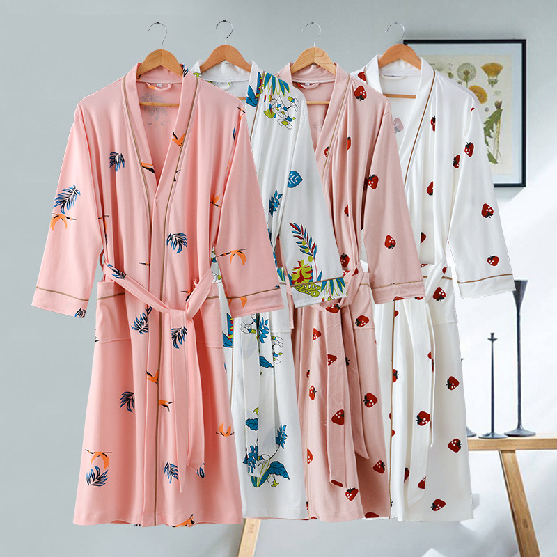 Cotton Bathrobe Nightgown Yukata-Spring Couple Long Summer Autumn Korean And Plus Siamese