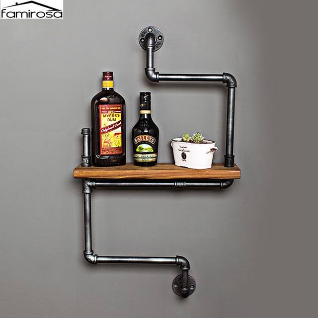 Book Shelf Iron Pipe Creative Retro Art Display Shelves Bookcase Wall Hanging Decorative Bookshelf For Living Room
