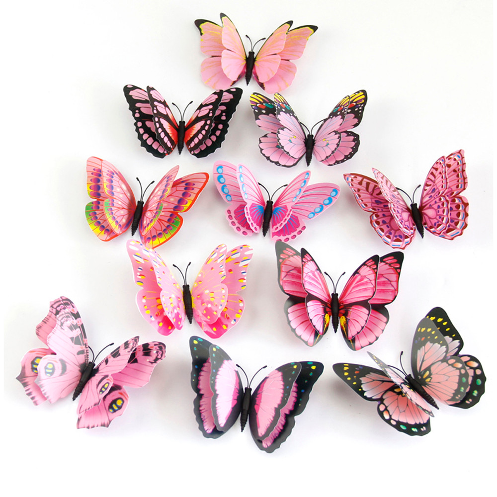 12Pcs/lot PVC 3D Magnet Butterfly Wall Stickers Butterflies Home Decor For Wedding Party Kids Room Living Room Fridge Decoration