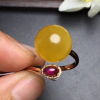 Fine Jewelry Real 18K Rose Gold AU750 100% Natural Amber Gemstone Female Rings for Women Fine Ring