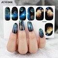 5 pcs Glitter Nail Art Manicure 3D Decalques Auto Adesivo Prego arte adesivos azul escuro galaxy céu da noite design de unhas wraps adesivo