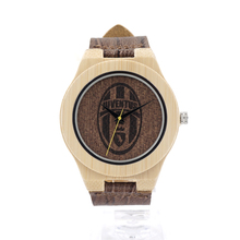 BOBOBIRD Unisex Retro Leather Fashion Bamboo Wooden Japan Movement Quartz With Genuine Cowhide Leather Band Casual