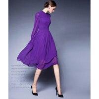 20 Purple Solid Long Sleeve Swing Vintage Chiffon Ladies Dress Casual Lines Maxi Boho Dress Plus
