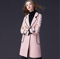 Зимнее шерстяное пальто Для женщин 2018 Новый высокое качество зимняя куртка Для женщин Тонкий шерстяной длинное кашемировое пальто кардига