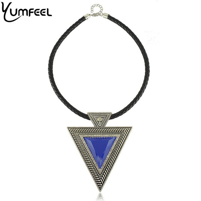 Hot Sell Unique and Speical Leather Necklace Geometry Triangle Pendants Necklace Jewelry