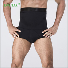 LANTECH Men High Waist Double Layer Bodybuilding Stomach Shapers Shorts Compression Tights Boxers Exercise Fitness Gym Shorts