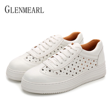 Leather Women Sneakers White Shoes Platform Spring Autumm Woman Flats Casual Shoes Thick Heels Lace Up Plus Size Driving ShoesDE недорого