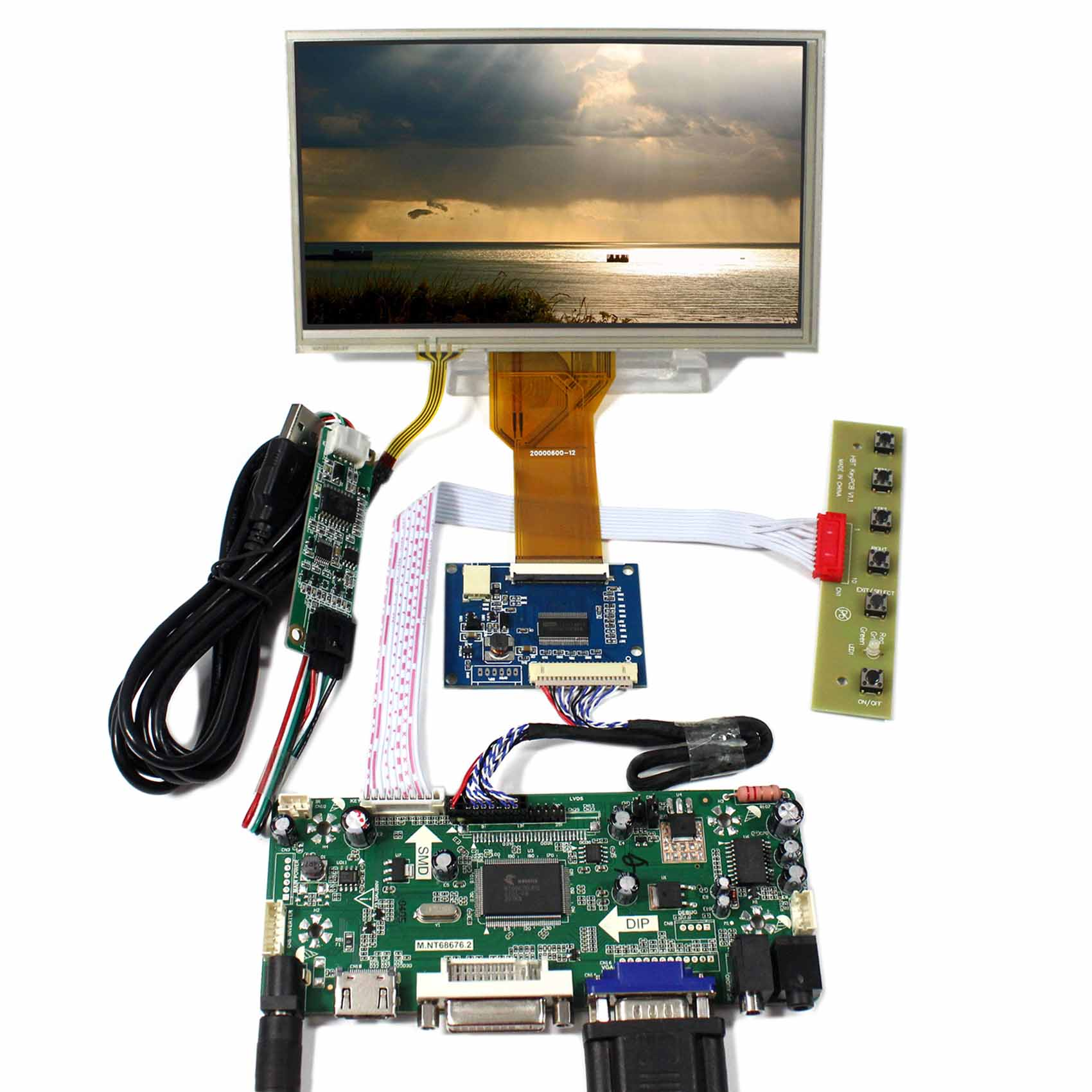 7inch AT070TN92 800x4800 Touch LCD Screen VS070TP-A5+HDMI DVI VGA Audio LCD Control Board M.NT68676 hdmi dvi vga lcd control board 14 1inch lp141wx3 1280 800 lcd panel touch pael