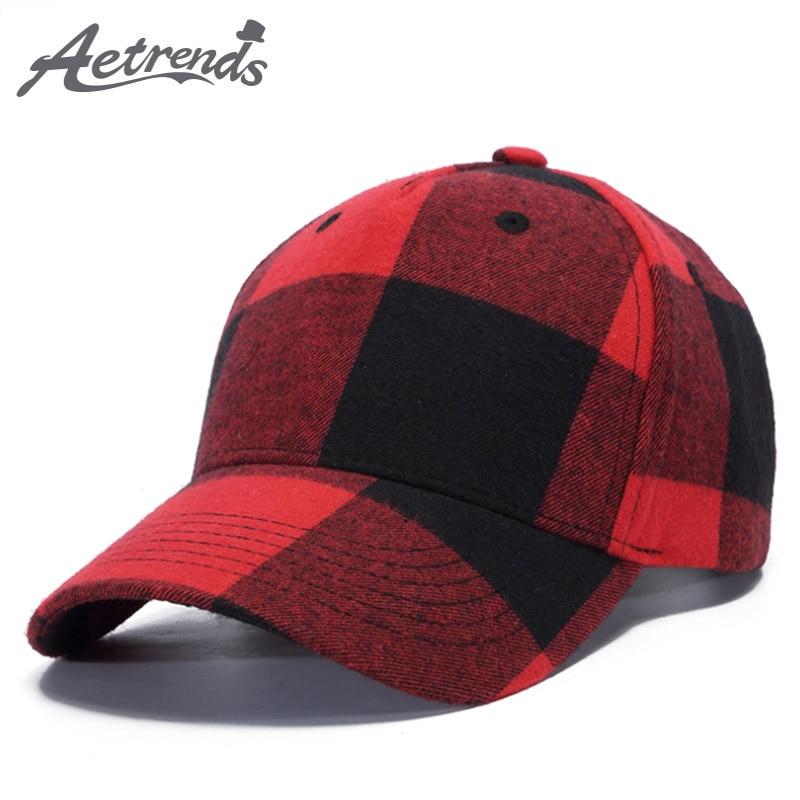 [AETRENDS] 2018 New Plaid   Baseball     Cap   Men or Women Outdoor Sport Bone   Caps   Snapback Hats Z-6305