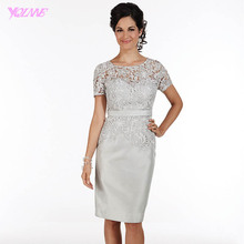 YQLNNE Navy Blue Wide-Waisted Mother of the Bride Lace Dresses Sleeves Knee Length Formal Women Evening Gowns Party Dress