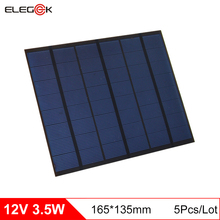 ELEGEEK 5Pcs 12V 3.5W PET Solar Panels Mini Solar Cells 290mA Polycrystalline Silicon DIY Battery Power Charge Module 165*135mm