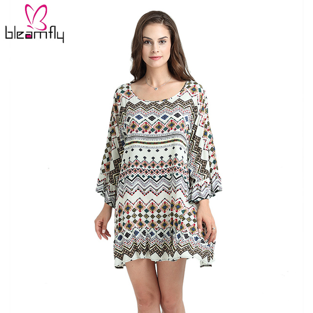 8fa33bf4b33 Vintage Dresses For Women Summer Casual Long Sleeve Boho Ethnic Tribal Print  Straight Short Loose Dress Robe Femme Veatidos