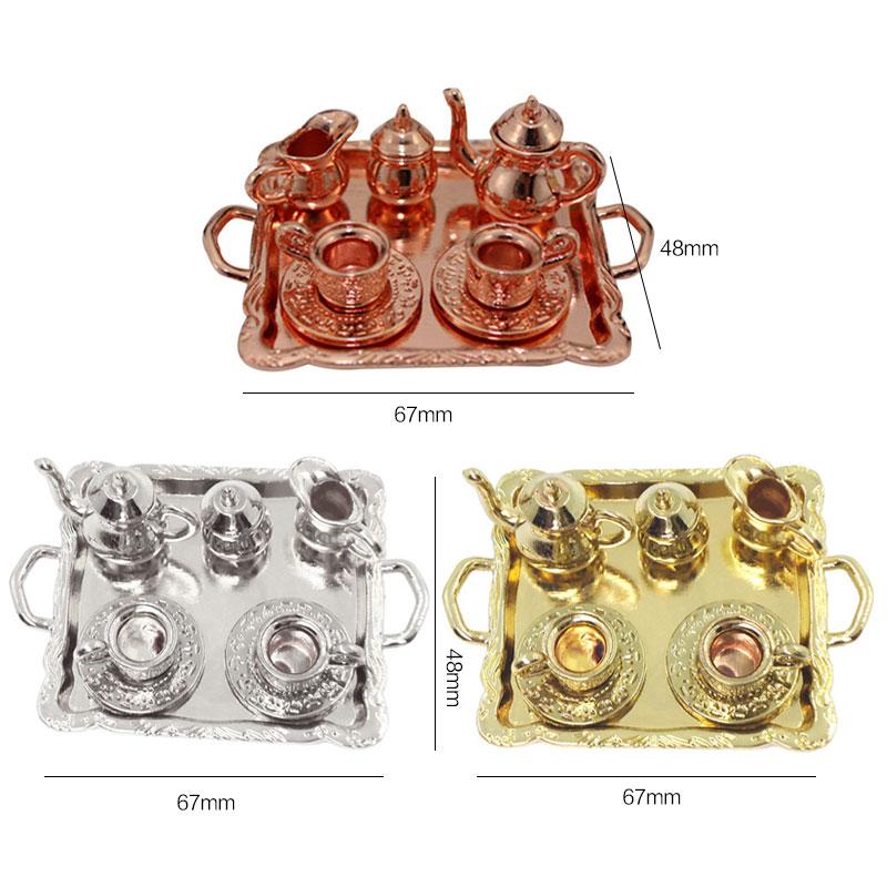 1: 12 Dollhouse Furniture Miniature Dining Ware Toy 8 Pcs Metal Tea Set Teapot Cup Plate Length 6.5cm