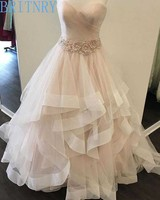 BRITNRY New Arrivals Wedding Dress Sweetheart Ball Gown Tulle Tiered Bride Dress Lace Up Back Pink Wedding Dresses Plus Size