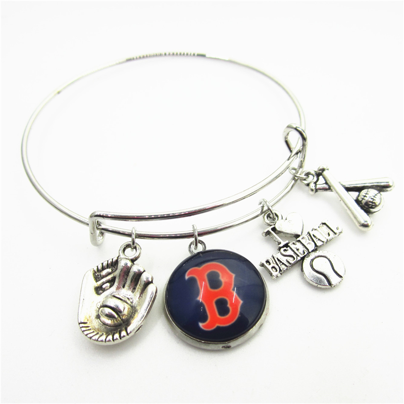 New 10pcs Boston Red Sox Baseball Sports Bracelets US Macroporous European Bracelet&Bangles adjust Bangles Jewelry charms
