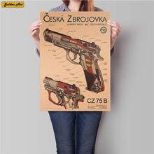 Ружья диаграмма пистолет диаграмма рисунок Винтаж крафт-бумага Плакат Бар Кафе печать украшение дома Наклейка на стену живопись 45,5x31,5 см