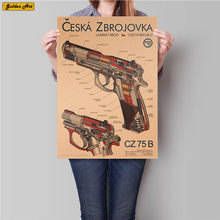 La carta de pistola carta de dibujo de papel kraft clásico poster bar Café impresión decoración del hogar pintura adhesiva de pared 45,5x31,5 cm