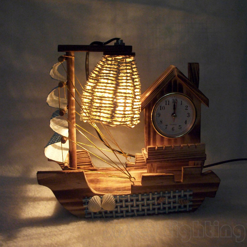 Decorative Crafts Table Lamp Night light Desk lamp Sailing boat with clock Children room home desk Light Birthday gift 220V EU P free shipping christmas deer table european diy arts crafts home decorative elk wood craft gift desk self build puzzle furniture
